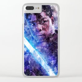 StarWars Finn Watercolor Wall Art Print, Poster, Movie Art, The Last Jedi and The Force Awakens Clear iPhone Case