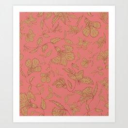 Coral Classic Floral Art Print