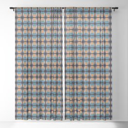 Orange Blues Geometric Shapes Sheer Curtain
