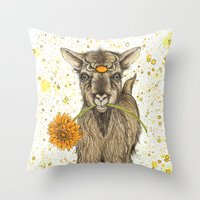 goat Throw Pillows featuring Goat by Nikki Laxar