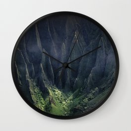 Breathtaking Hawaii Hanging Over Coastal Cliffs Wall Clock