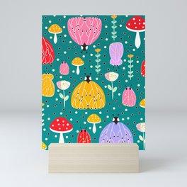 Bugs and mushrooms Mini Art Print