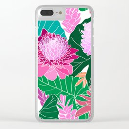 Tropical Botanical Pond in White Clear iPhone Case