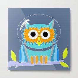 Blue Owlstronaut Metal Print