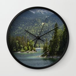 Eibsee lake in Germany in front of the mountain Zugspitze during daytime Wall Clock