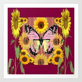 BURGUNDY SUNFLOWERS & PINK BUTTERFLY ART Art Print