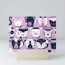 Cuddly Tea Time // white navy & light orchid pink animal mugs Mini Art Print