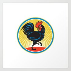 Rooster Cockerel Marching Side Retro Art Print