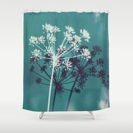 Twilight Stars. Botanical Macro Abstract in Blue. Shower Curtain