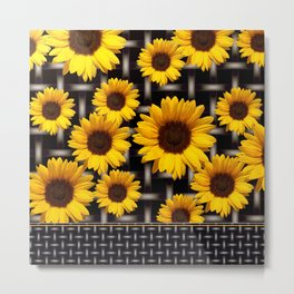 Bright Yellow Sunflower and Industrial Grid Pattern Metal Print
