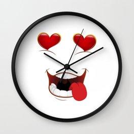 Male Lustful Heart Eyes Wall Clock