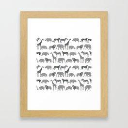 Safari animals minimal grey and white zebra giraffe cheetah hippo rhino nursery Gerahmter Kunstdruck