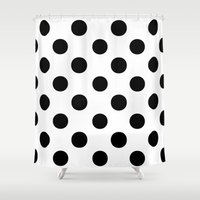 polka dots Shower Curtains featuring Polka Dots (Black/White) by 10813 Apparel