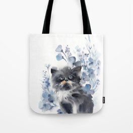 Kitten and blue florals Tote Bag
