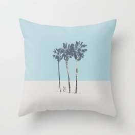 Palm trees on a solitary beach Throw Pillow