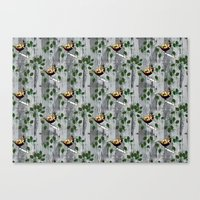 tits Canvas Prints featuring Crested Tits by LindaWinegum