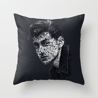 alex turner Throw Pillows featuring Typo-songs Alex Turner by Daniac Design