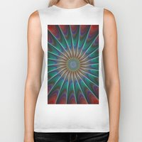 fractal Biker Tanks featuring Peacock fractal by David Zydd - Colorful Mandalas & Abstrac