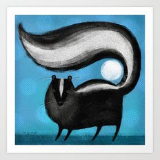 SKUNK ON BLUE Art Print