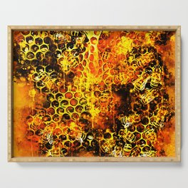 bees fill honeycombs in hive splatter watercolor Serving Tray