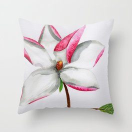 Watercolour Magnolia Throw Pillow