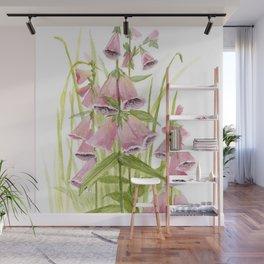 Pink Foxglove Botanical Garden Flower Wall Mural