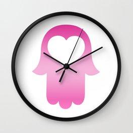 Gradient Pink Khamsa Wall Clock