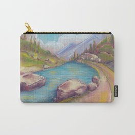 Landscape with lake and mountains drawing by pastel Carry-All Pouch