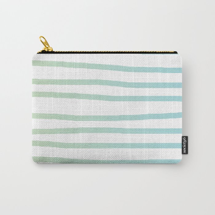 Simply Drawn Stripes in Turquoise Green Blue Gradient on White Carry-All Pouch