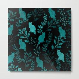 Watercolor Floral and Cat IV Metal Print