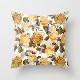 Vintage & Shabby Chic - Yellow Sepia Botanical Rose Flower Garden Throw Pillow