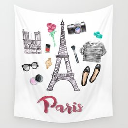 Watercolor Paris Fashion Items - Eiffel Tower Wall Tapestry