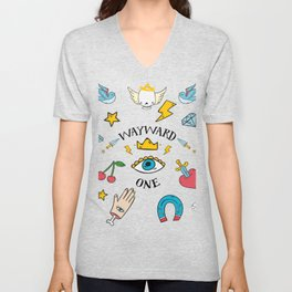 Wayward One - Old School Tattoo Flash Art Unisex V-Neck