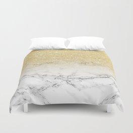 Modern faux gold glitter white marble color block Duvet Cover
