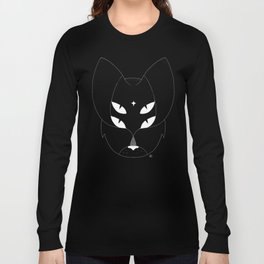 T-shirt with mystic 4-eyes angry cat. Ocult style. Minimal Long Sleeve T-shirt