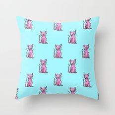 Crazy Cat (Pink/Blue)  Throw Pillow
