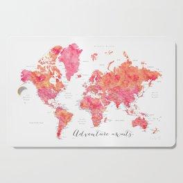 "Adventure Awaits watercolor world map in hot pink and orange, ""Tatiana"" Cutting Board"