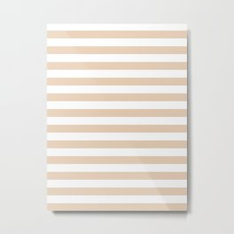 Narrow Horizontal Stripes - White and Pastel Brown Metal Print