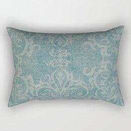Antique rustic teal damask fabric Rectangular Pillow