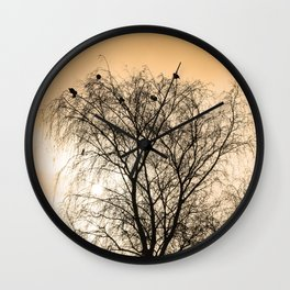 Sepia Roosting birds Wall Clock