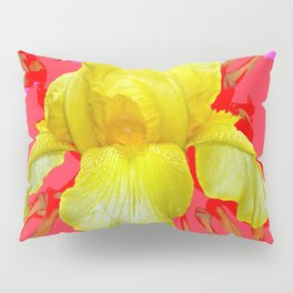 YELLOW IRIS MODERN ART RED FLORAL ABSTRACT Pillow Sham