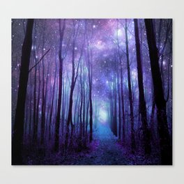 Fantasy Forest Path Icy Violet Blue Canvas Print
