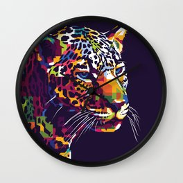 Leopard face with pop art style Wall Clock
