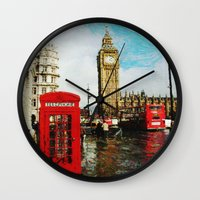 england Wall Clocks featuring London, England by ClassicalSass