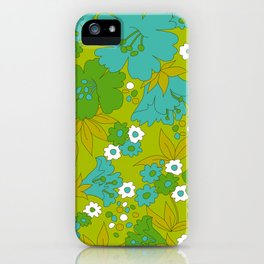 Green, Turquoise, and White Retro Flower Design Pattern iPhone Case