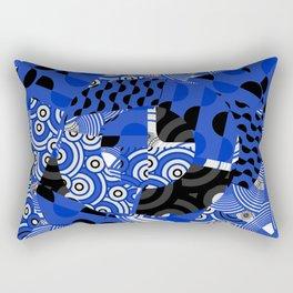 Circles Dots Waves Blue Japanese Inspired Rectangular Pillow