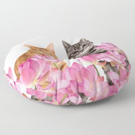 Red and Tiger cat in Lotos Flower Field Floor Pillow