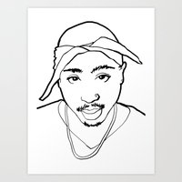 tupac Art Prints featuring Tupac no. 1 by Colin Douglas Gray