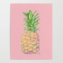 Pink Brite Pineapple Poster