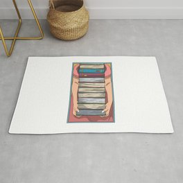 Book pile long arms Rug